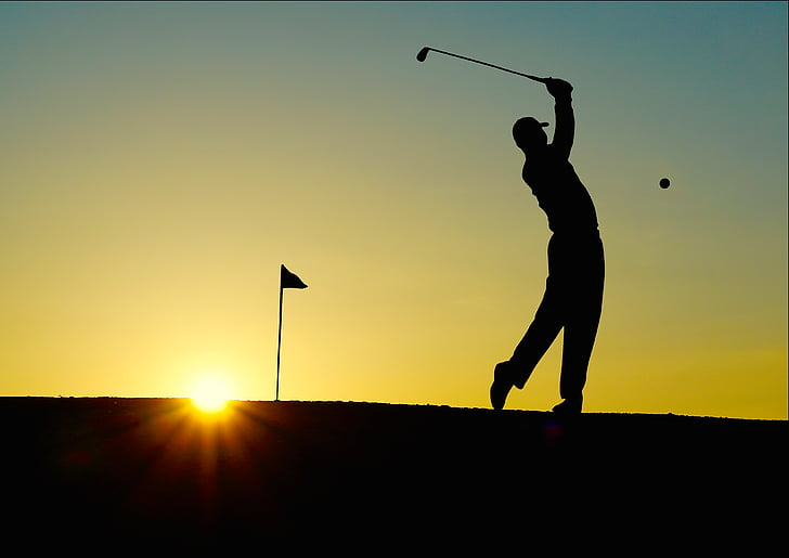 Golf, matahari terbenam, olahraga, pegolf, kelelawar, einlochfahne, Kolam