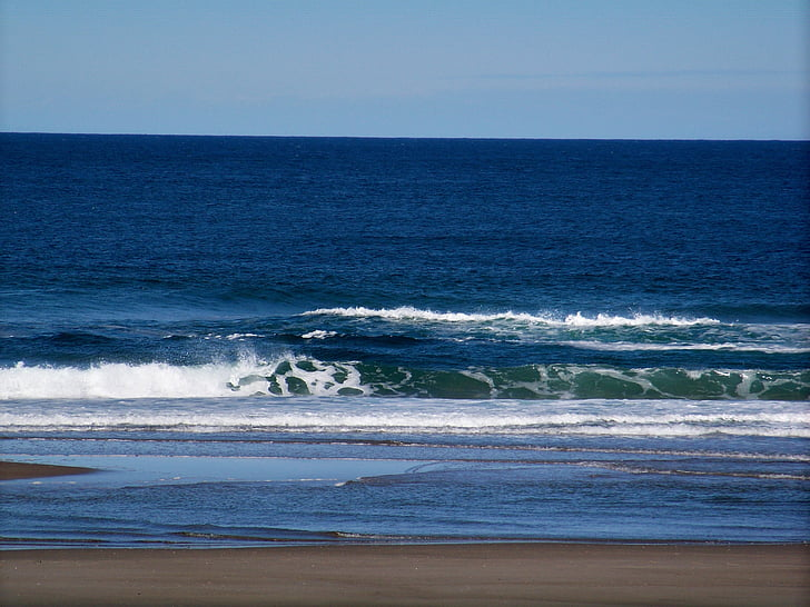 Ocean, våg, grön, blå, havet, vatten, naturen