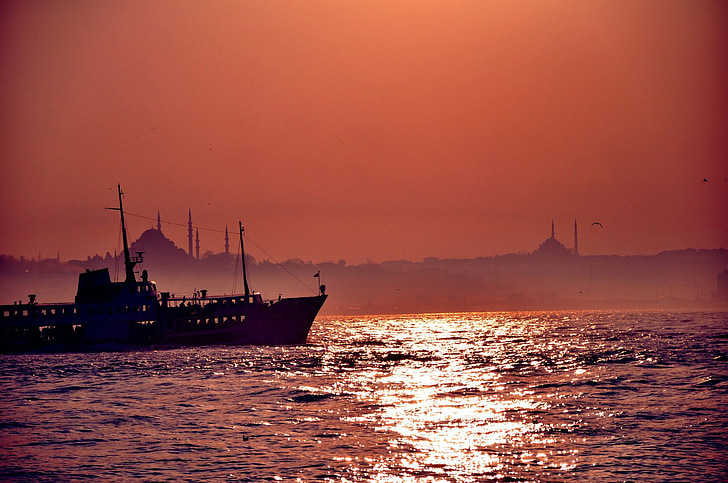 Istanbul, v, Palača Topkapi, prirodni Turska, plaža, zalazak sunca, marinac