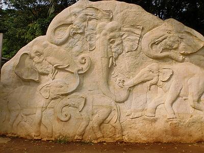 slon, rezbárske práce, Rock, sochárstvo, Srí lanka, Pinnawala