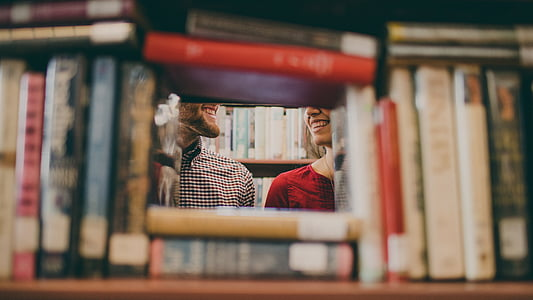 books, couple, library, lovers
