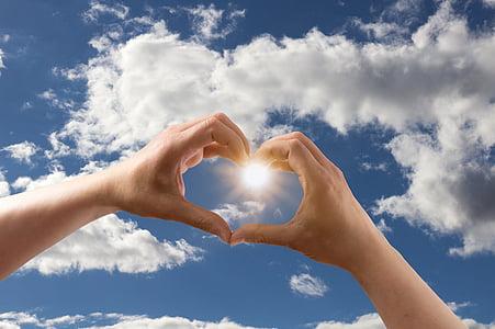 love, heart, form, hands, keep, sky, clouds