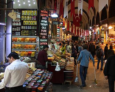 ตลาด, บาซาร์, ตุรกี, อิสตันบูล, ซื้อ, ขาย, การค้า