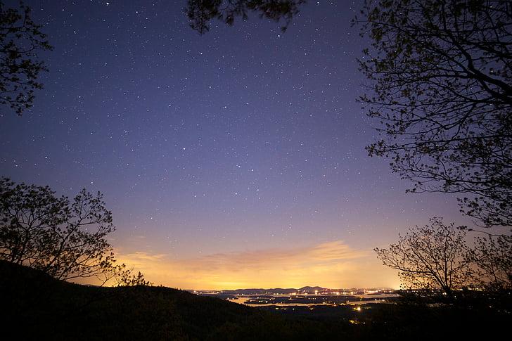 veure, estrelles, nit, il·luminat, ciutat, llunyà, espai