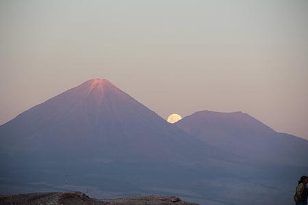 volcà, Licancabur, San pedro de atacama, natura, Lluna, ple, posta de sol