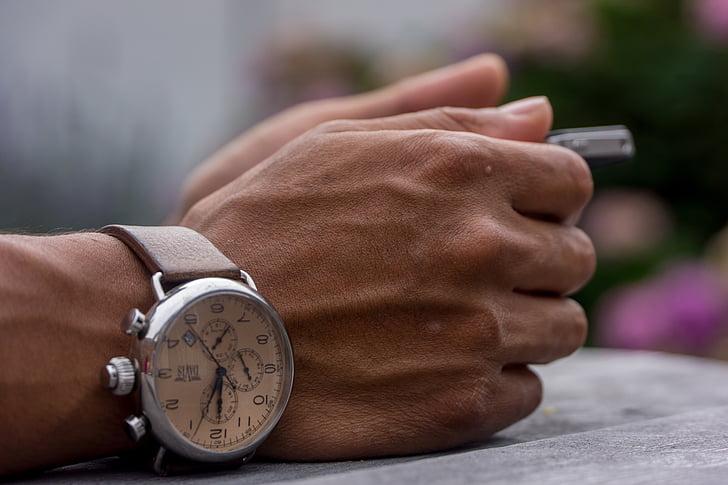 mans, nines, rellotge, veure, temps, accessori, humà