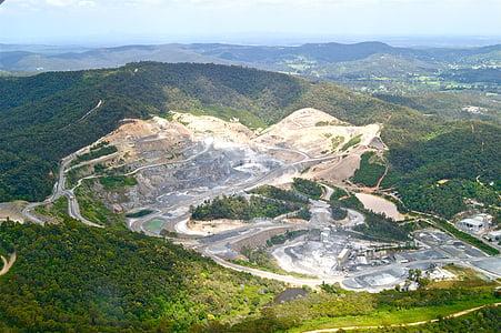 stenbrott, gruvdrift, utvinning, utgrävning, jorden, mineral, gropen
