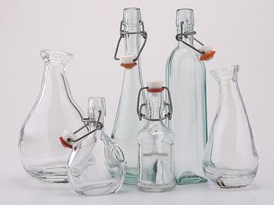 natura morta, bottiglie, occhiali, riflessi di luce, scienza, laboratorio, vetro - materiale