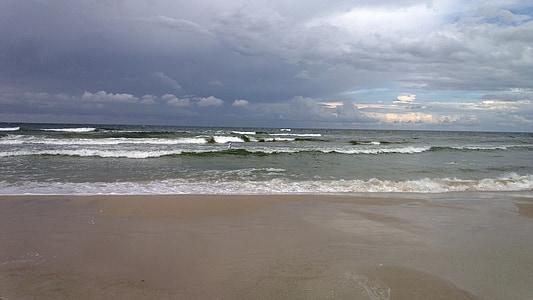 vilnis, pludmale, jūra, Baltijas jūrā, krasta, Polija, Baltijas jūras piekrastē