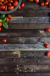 tomàquets cherry, backgorund, aliments, tomàquets, fusta, fusta, vermell
