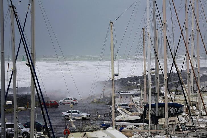 Golf, zee, Storm, verkeer, schuim, weer, tsunami
