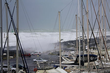 ona, Mar, tempesta, moviment, escuma, temps, tsunami