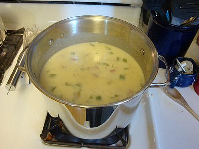 sopa, olla, cremós, cuina, aliments, plat, calenta