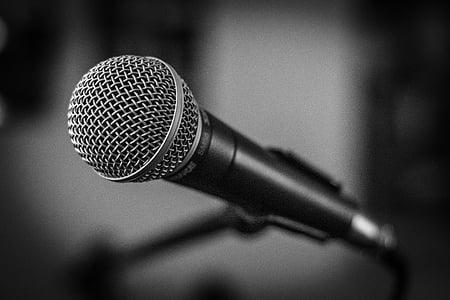 mikrofon, szakasz, fekete-fehér, zene, beszéd, Stage - performance helyet, berendezések