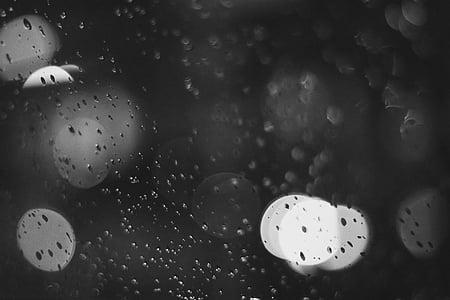 kapljice vode, luč, črno-belo