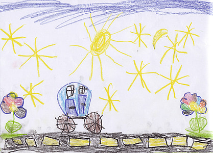children drawing, kindergarten, drawing, image, painted, road, auto
