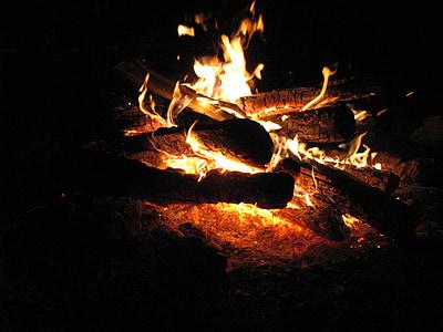 foc, flama, nit, groc, cremar, foc de fusta, calor