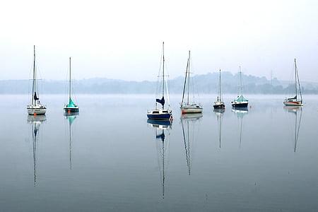 bateaux à voiles, les voiles, yachts, Lac, voilier, vent, eau