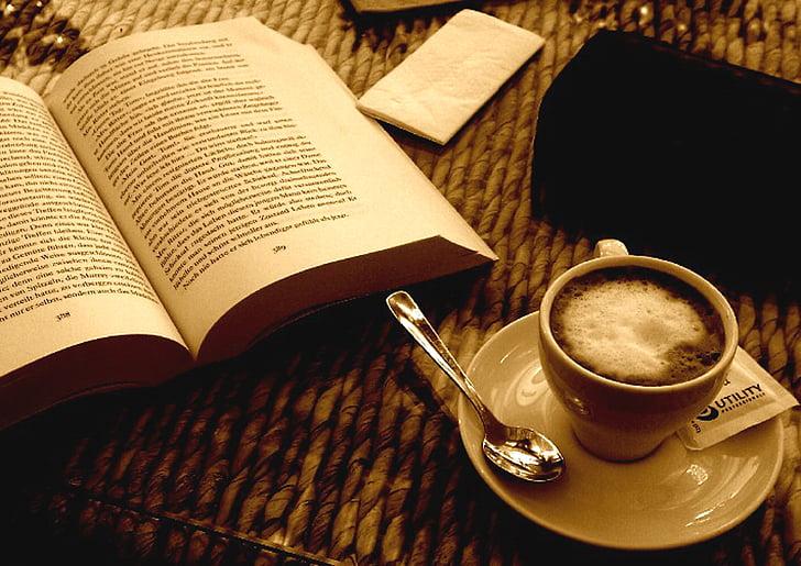 kniha, káva, espreso, sépie, Zátiší