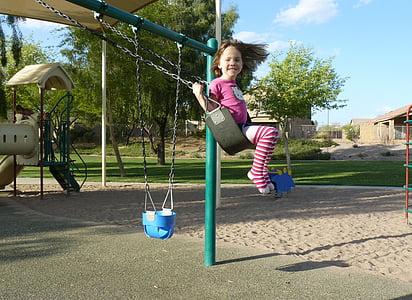 little girl, swing, child, girl, swinging, park, happy