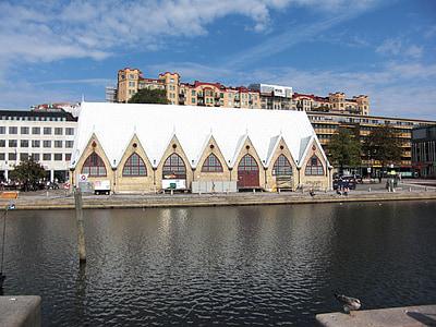 fisk hall, Sverige, Göteborg, Downtown, arkitektur, byggnader, tak