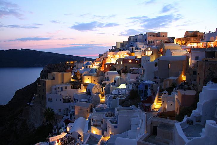 Santorini, illa, Grècia, Cíclades, illa grega, cases blanques, caldera volcànica