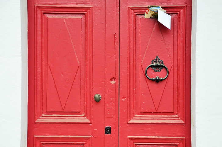 uks, punane, kanne, City, arhitektuur, punane uks, Street