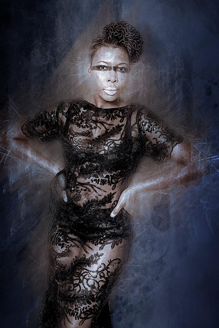 afroamericà, saló, Hipster, model de, pell negra, dona, moda
