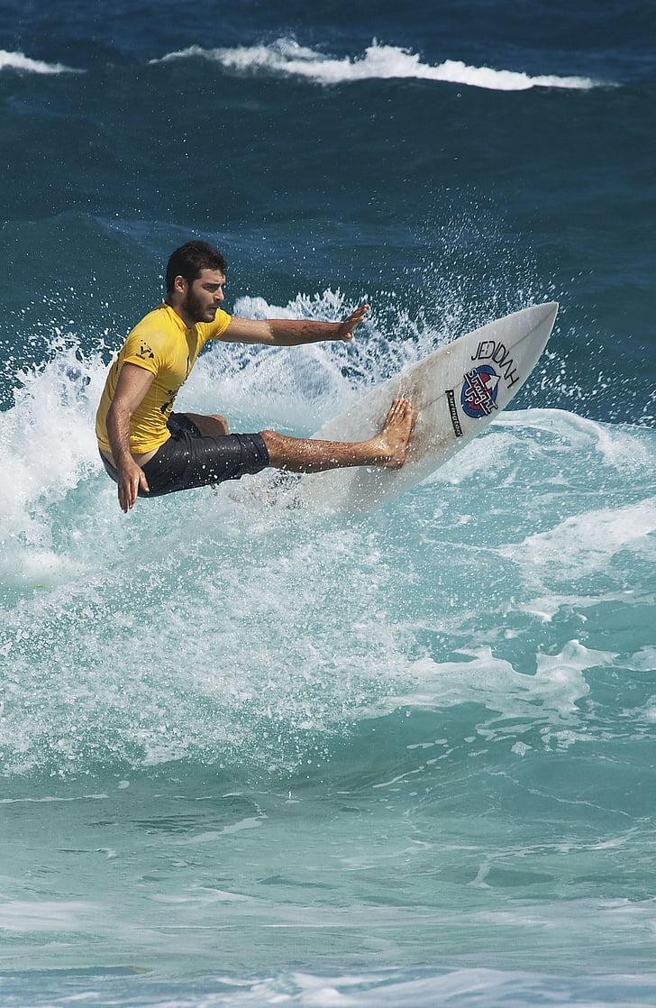 szörfös, szörfdeszka, szörfözés, hullám, víz, Surf, óceán