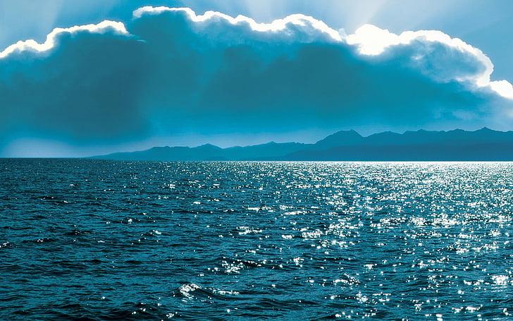 바다, 구름, 태양