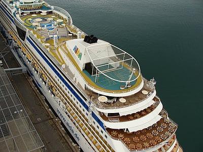 Cruiser, resor, fartyg, hamn, havet, semester, Holiday