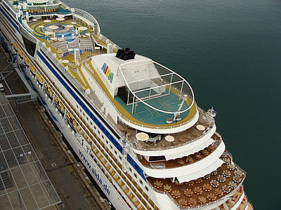 Cruiser, rejse, skib, port, havet, ferie, ferie
