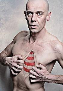 portret, Muški, srce, ljubav, ljudi, mišićna graditi, ljudi