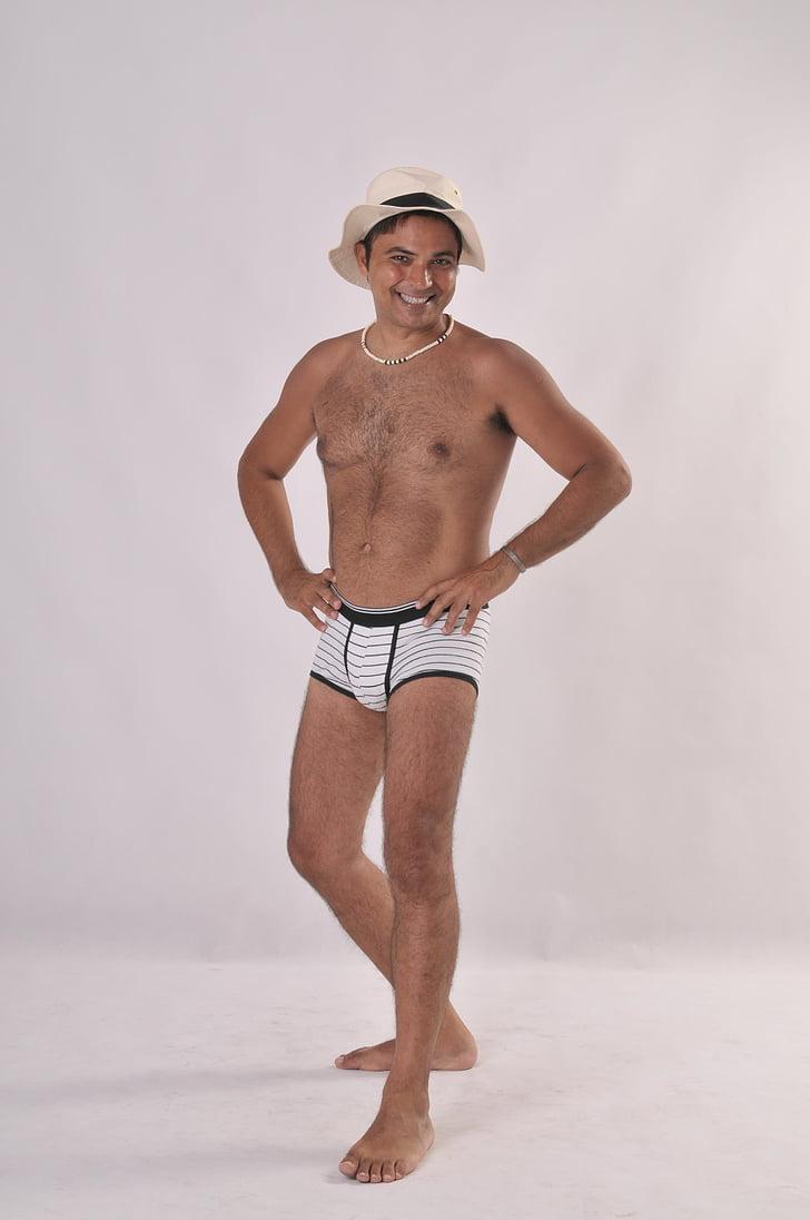 homme, maquette, Nude, mémoires, Boxer, chapeau, Jeans/Pantalons