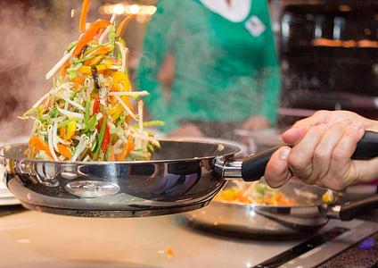 paella, verdures, cuinar, aliments, cuina, vegetals, persones