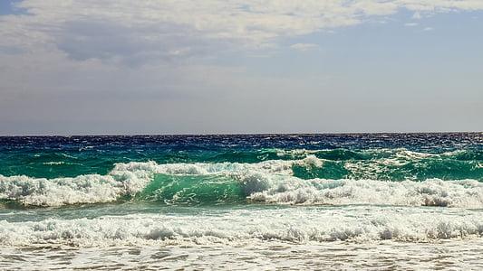 κύματα, αφρώδες υλικό, σπρέι, στη θάλασσα, μπλε, παραλία, βουτιά
