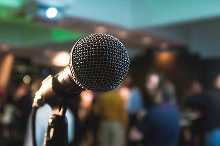 zár, fókusz, Fénykép, mikrofon, állvány, zenei, karaoke