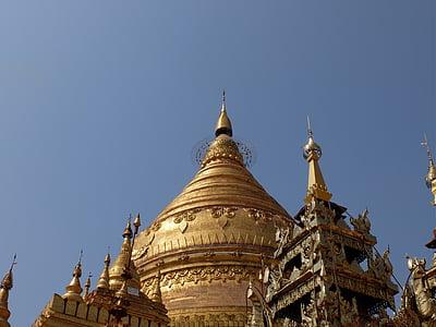 Burma, templet, guld, Pagoda, buddhismen, Dome, religion