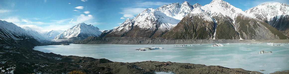 Nya Zeeland, landskap, Mountain, glaciär, naturen