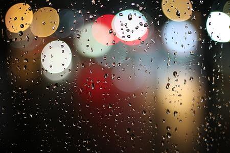 φώτα, νερό, θόλωμα, βροχή, σταγόνες βροχής, πολύχρωμο, πολύχρωμα