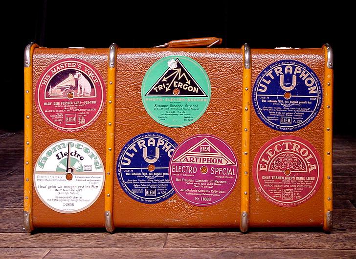 equipatge, adhesiu, maleta vella, goma laca, 78rpm, segell de goma laca, retro