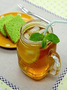 氷レモン茶, 紅茶, ドリンク, ガラス, レモン, 冷, ミント