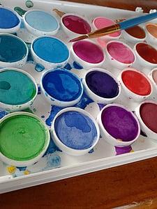 cat air, cat, Menggambar, warna, sikat, kanvas, kerajinan