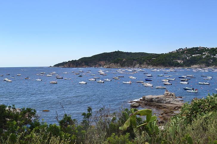 havet, sida, båtar, Medelhavet, Spanien, Seaside, naturen