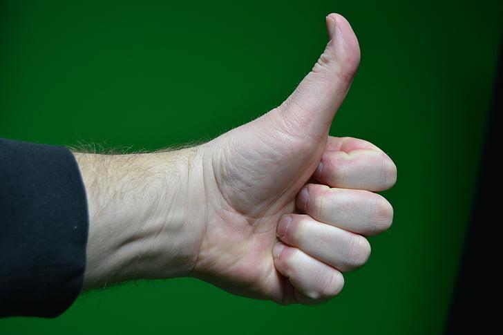 pulgar hacia arriba, mano, pulgar, gesto, éxito, aprobación, gesticular