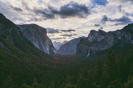 núvols, bosc, paisatge, muntanya, cim de la muntanya, natura, a l'exterior