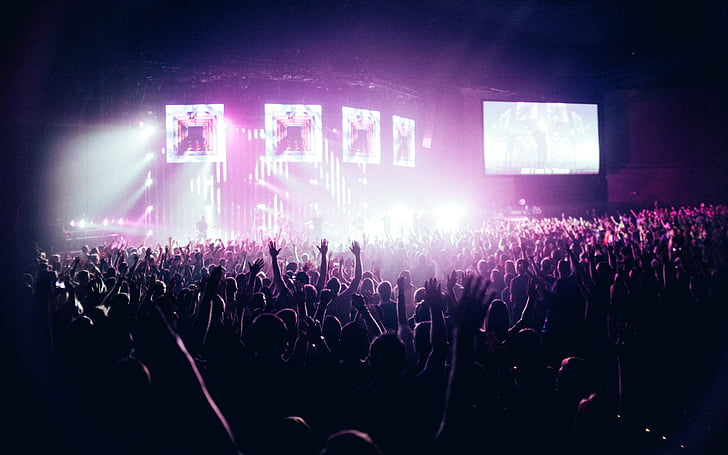 audience, backlit, band, club, concert, crowd, dancing