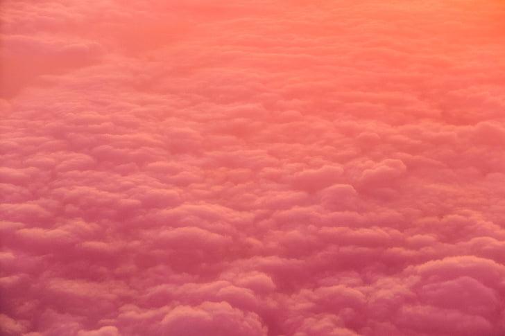 núvols, d'or, hores, posta de sol, capvespre, cel, viatges