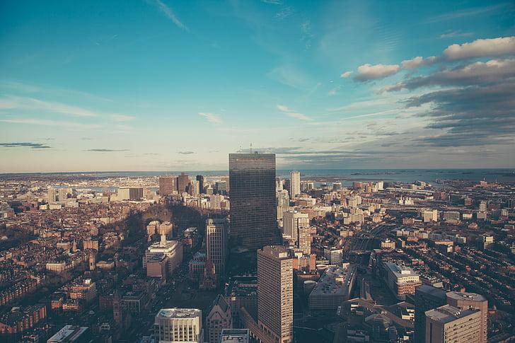 aerial, photo, high, rise, building, blue, sky