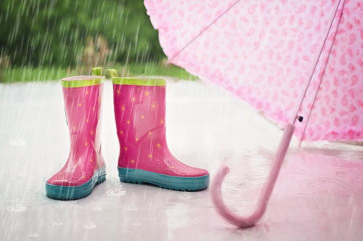 pluja, botes, paraigua, mullat, pluja caiguda, l'aire lliure, l'estiu